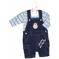Jungle Rumble Cheeky Monkey Overall & Matching Stripe Top Set