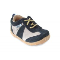 Doodles Navy Beige Leather Shoe